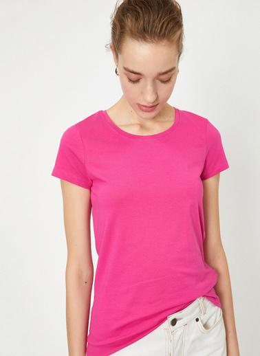 Koton Standart Kalip Bisiklet Yaka Basic T-Shirt Pembe